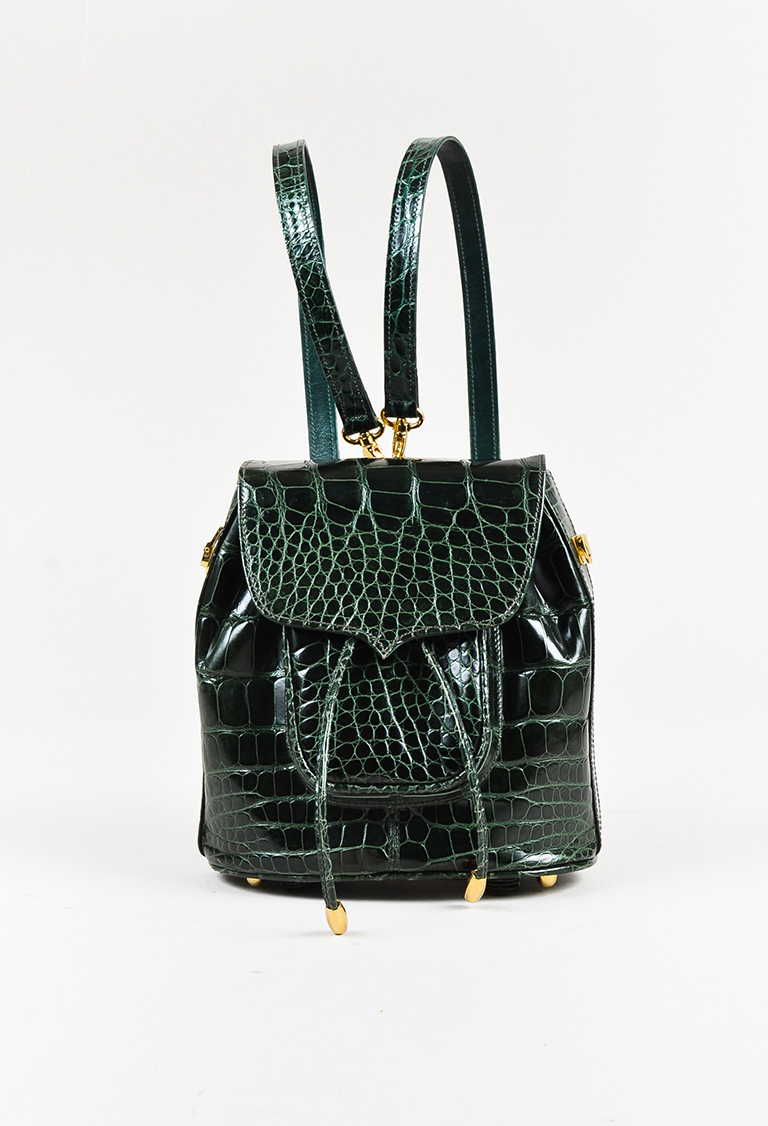 Green Genuine Alligator Convertible Backpack
