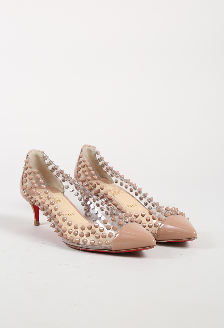 "Nude Patent Leather PVC ""Spike Me"" Pumps"