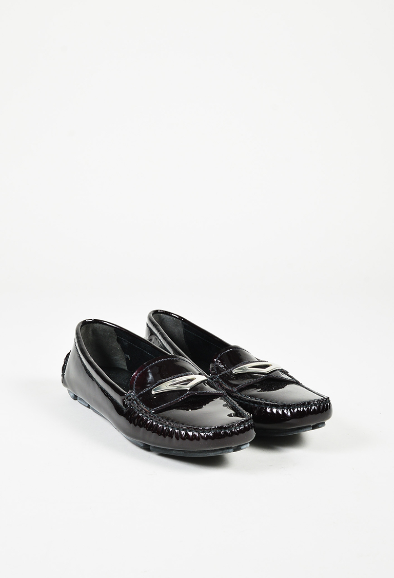 """Ribes"" Purple Patent Leather Silver Tone Loafer Flats"
