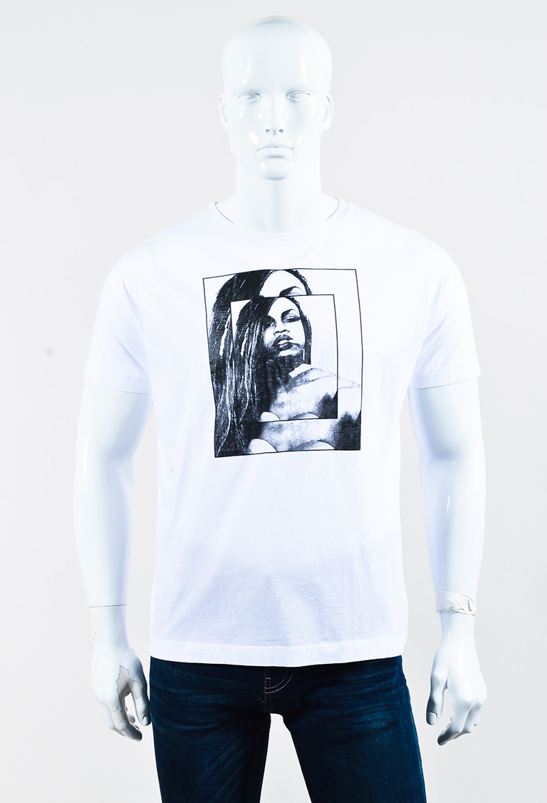 "White Cotton Graphic Printed ""Connie"" T Shirt"