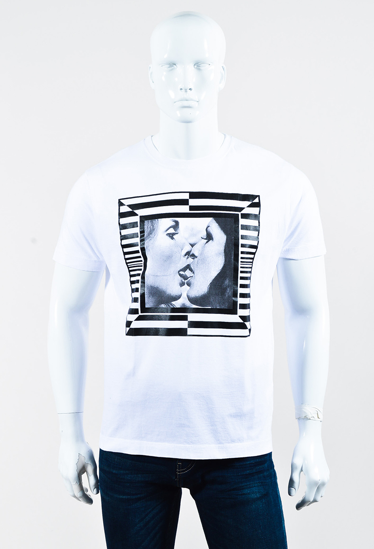 Men's White Cotton Short Sleeve Graphic Printed T Shirt