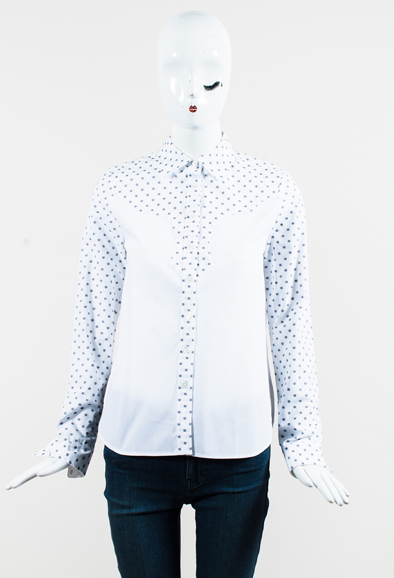 White & Black Cotton Floral Western Blouse