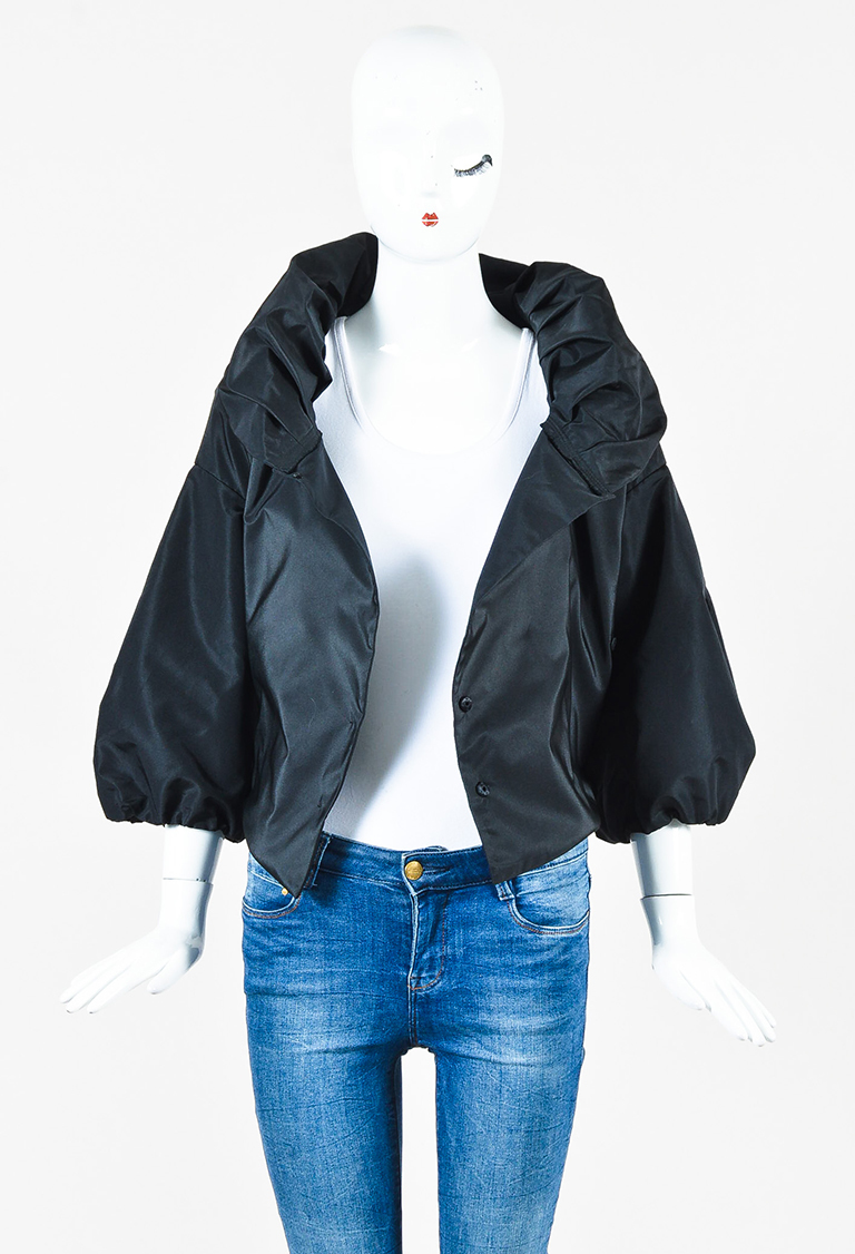 Black Silk Blend Puff Sleeve Cropped Jacket
