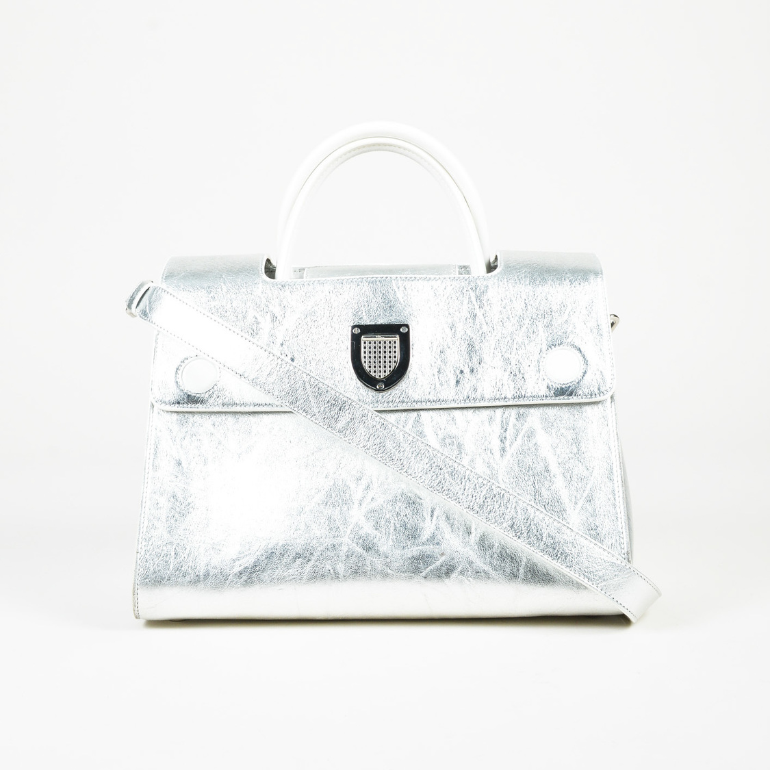 Details about Christian Dior  3400 Metallic Silver Calfskin Leather