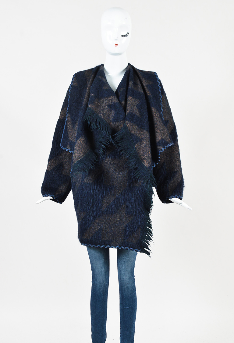 Blue Multicolor Wool Blend Oversized Lapel Coat