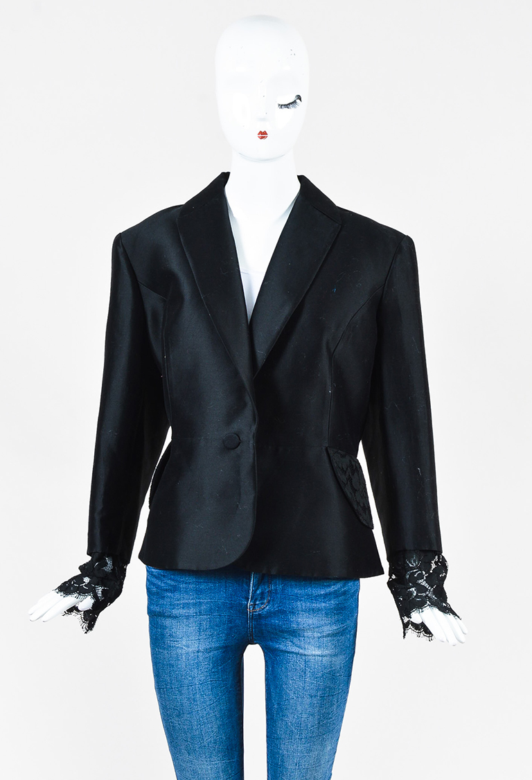 Black Cotton & Silk Lace Trimmed Blazer