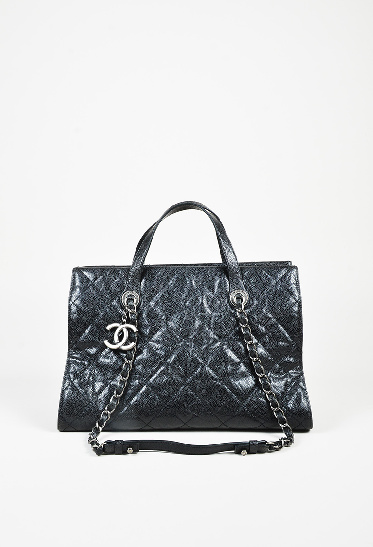 """Black Quilted """"Caviar"""" Leather """"Shiva"""" Satchel Bag"""
