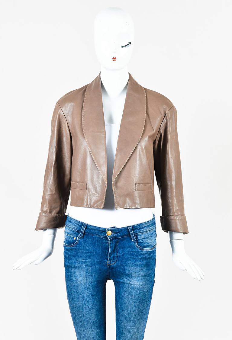 Brown Leather Cropped Shawl Lapel Jacket