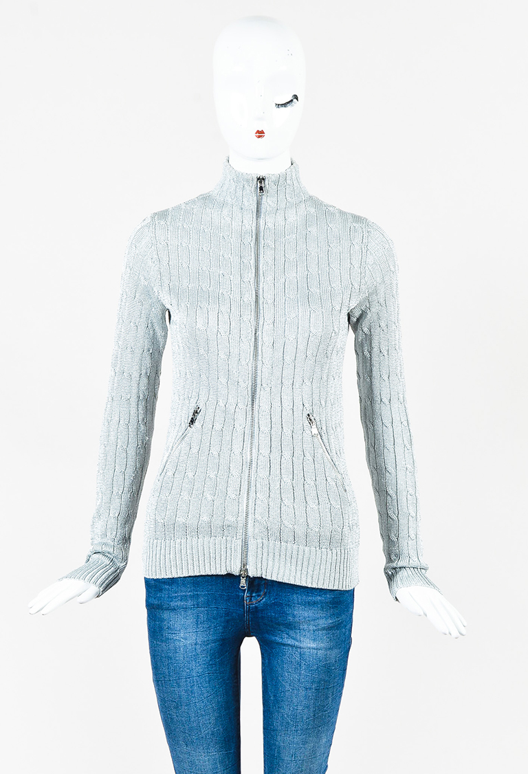 Metallic Silver Cable Knit Zipped Cardigan