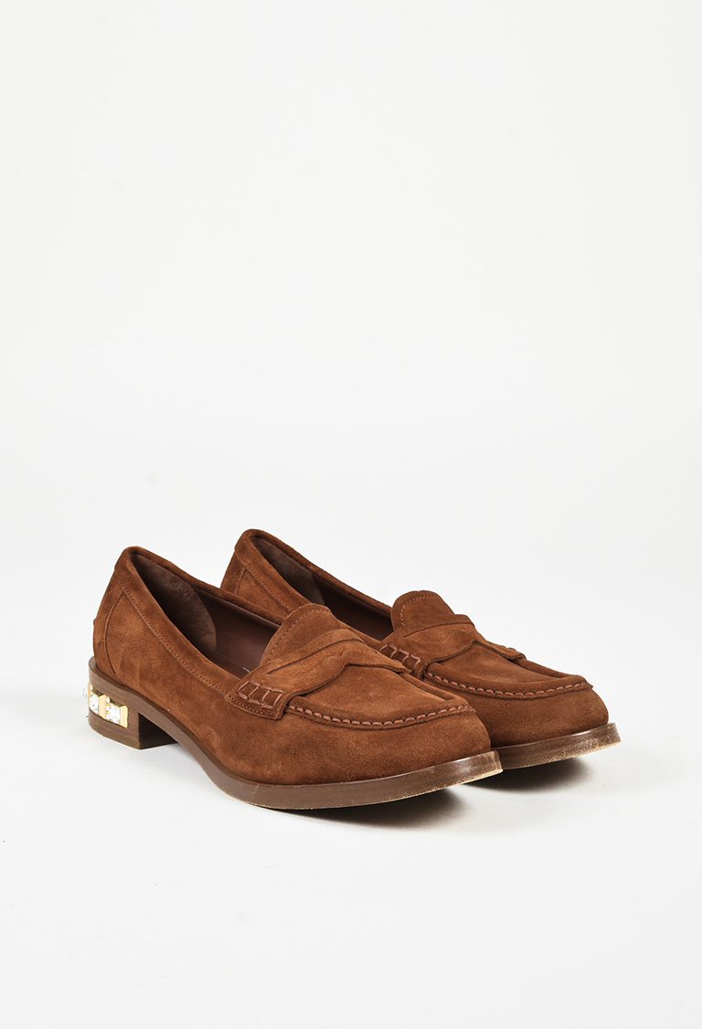 """Brown Suede """"Crystal Embellished Penny Loafers"""" Flats"""