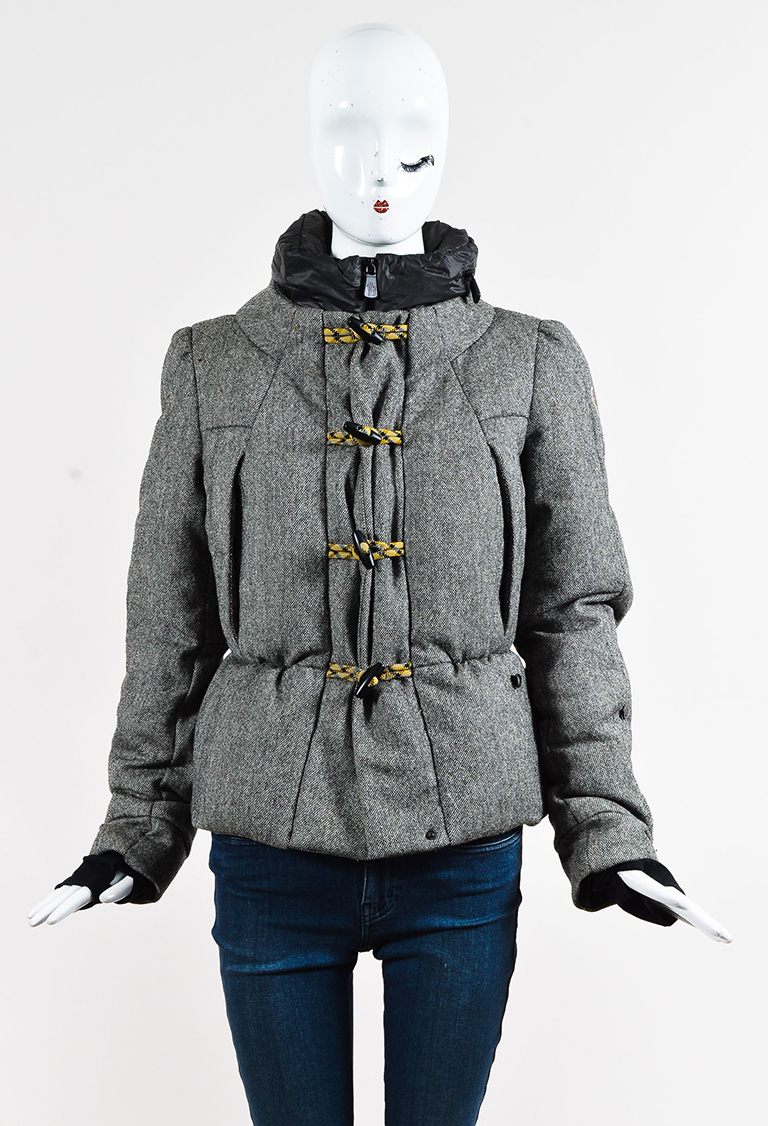 Grey Wool Down Filled Toggle Front Hooded Coat