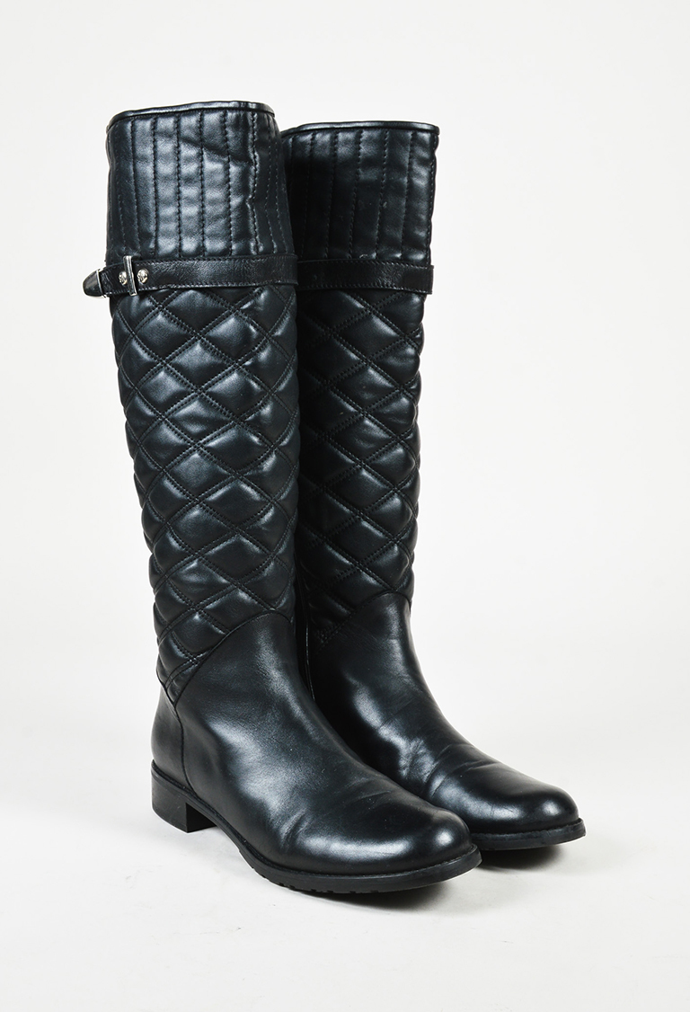 "Black Quilted Leather ""Copilot"" Riding Boots"