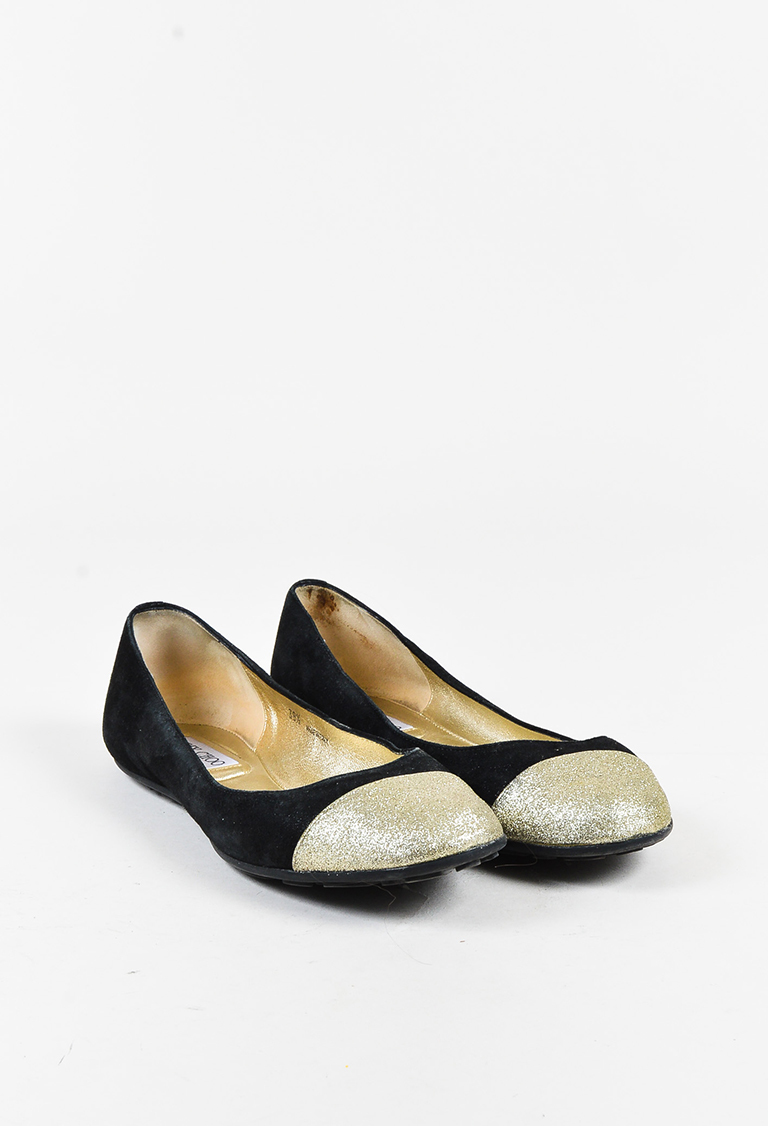 Black Suede Gold Glittered Cap Toe Ballet Flats
