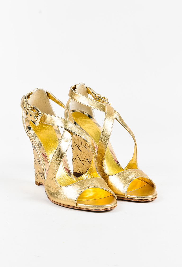 Gold Leather Peep Toe Strappy Woven Wedge Heel Sandals