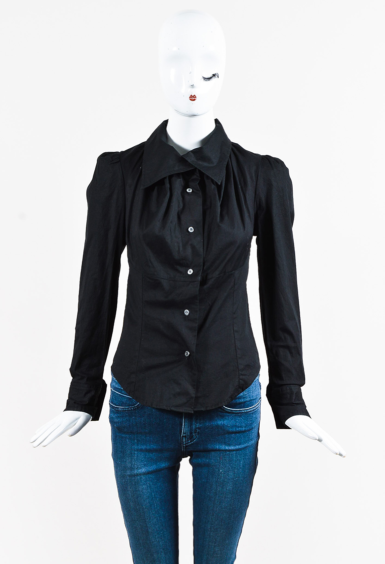 Anglomania Black Cotton Blend Button Up Long Sleeve Shirt