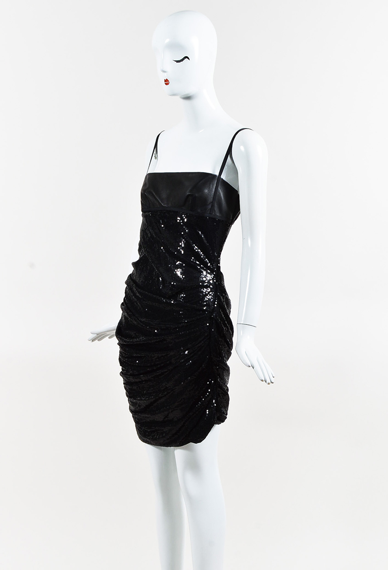 Black Leather Trimmed Sequined Ruched Mini Dress