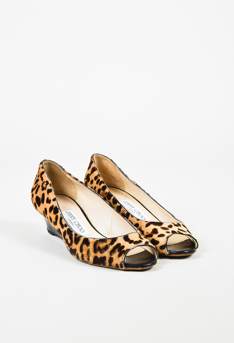 "Animal Print Calf Hair Wedge Peep Toe ""Bergen"" Pumps"