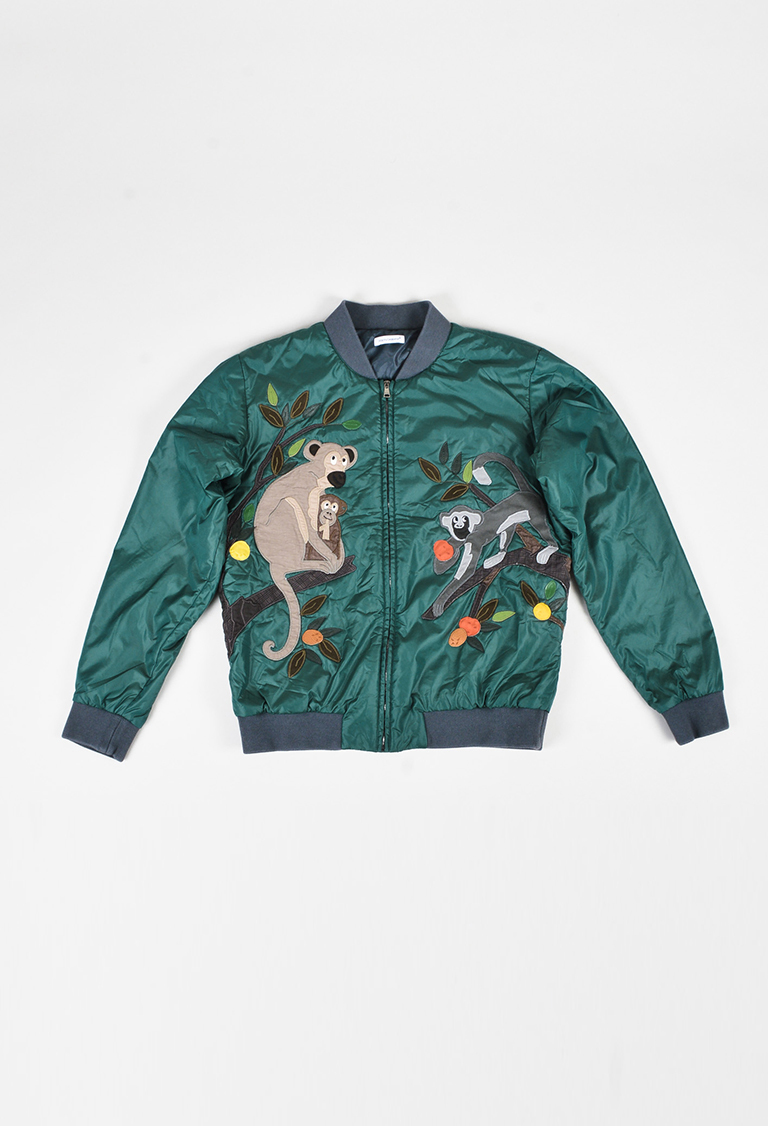 Kids' Green Nylon Multicolor Monkey Bomber Jacket