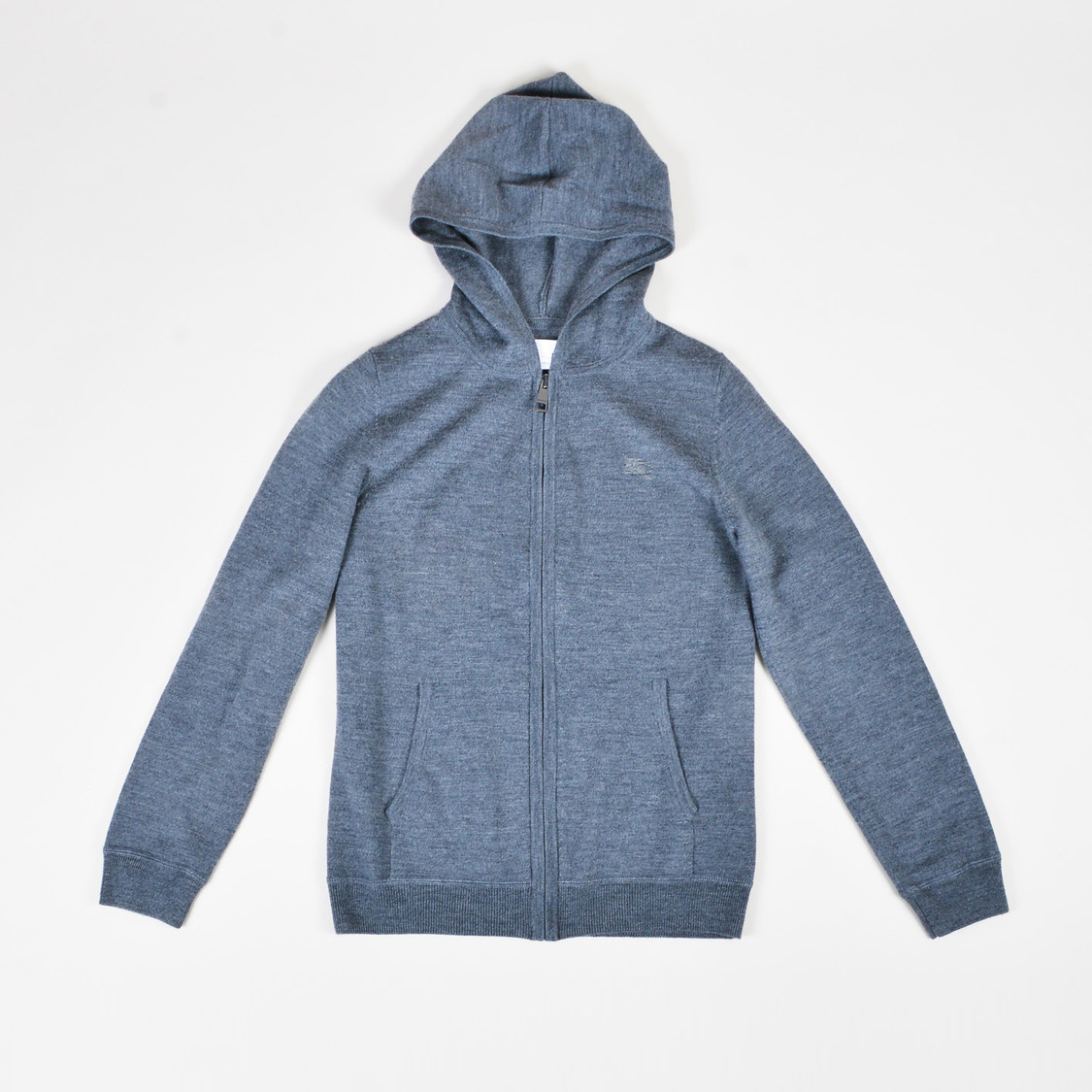 e86df7566b7c KIDS Burberry Children Gray Wool Knit Zip Up Hooded Cardigan Sweater ...