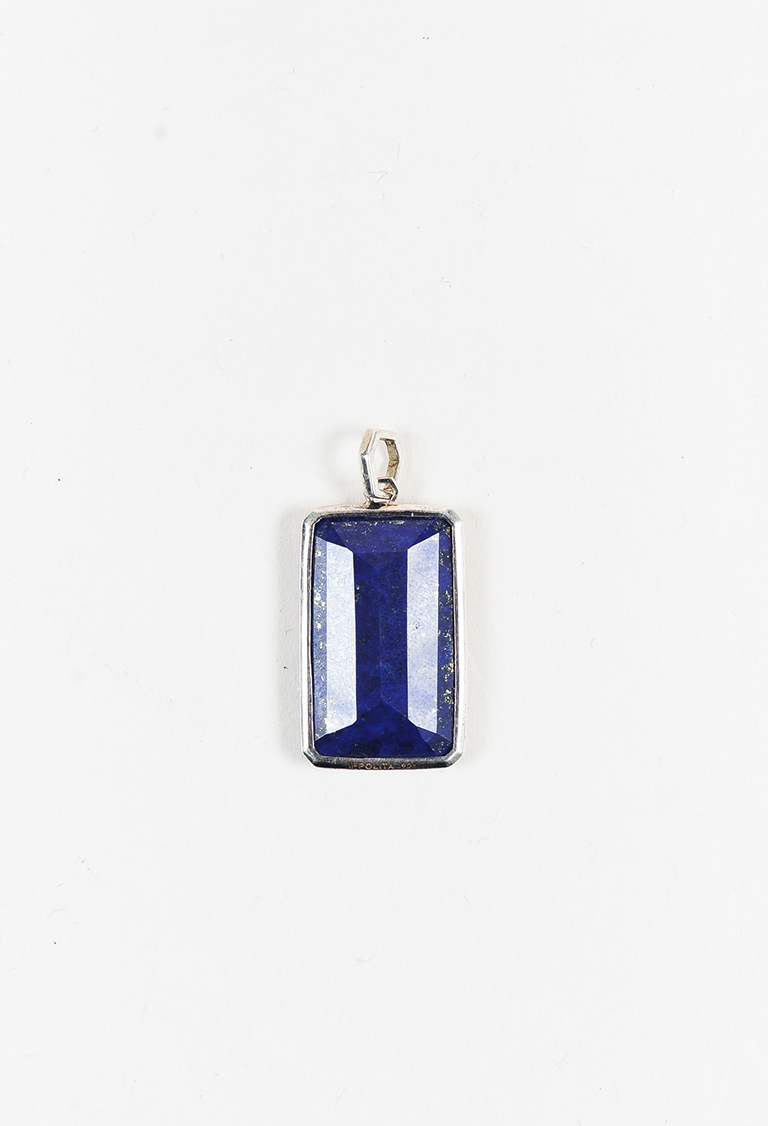 Blue Green Sterling Silver Nuummite Rectangular Pendant
