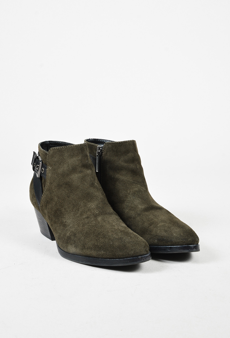 Green Suede & Black Leather Buckled Ankle Boots