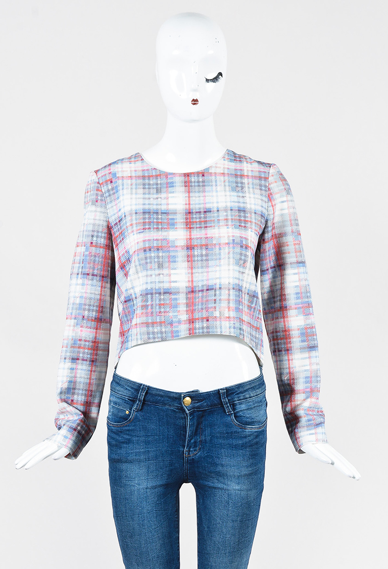 Red Blue Multicolor Silk Plaid Long Sleeve Top