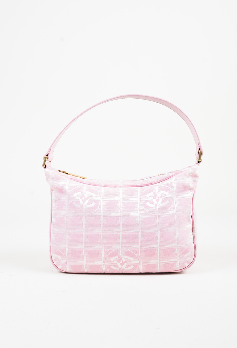 "Pink 'CC' Patterned Leather Handle ""Travel Ligne"" Shoulder Bag"