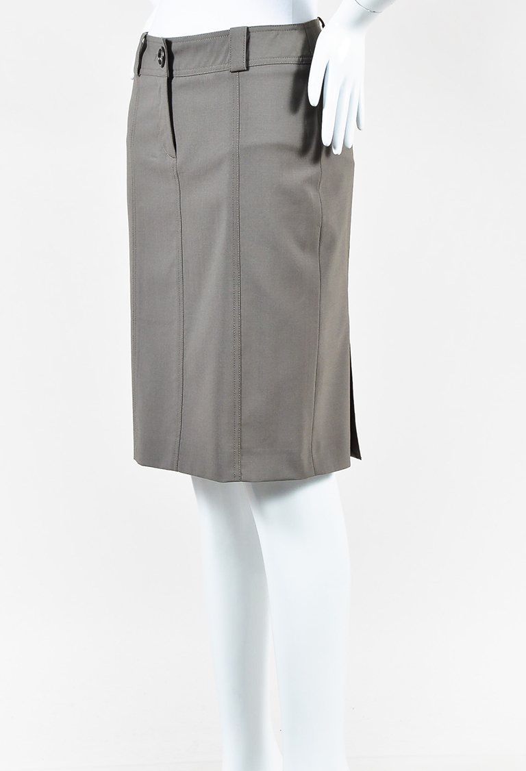 London Grey Wool Blend Pencil Skirt