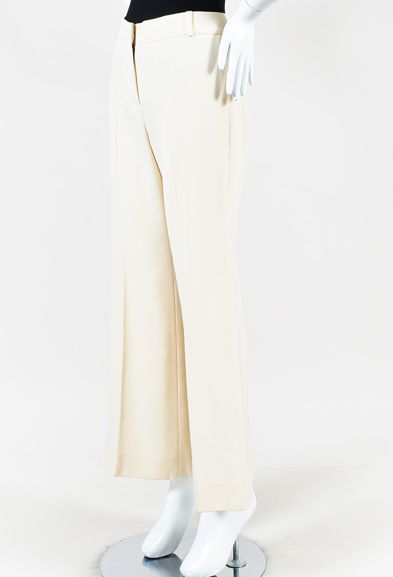 """Ecru"" Cream Wide Leg Dress Pants"