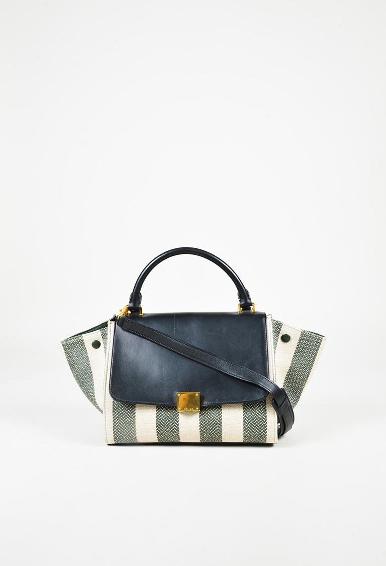"S/S 2015 Cream Green & Blue Canvas & Leather Striped Small ""Trapeze"" Bag"