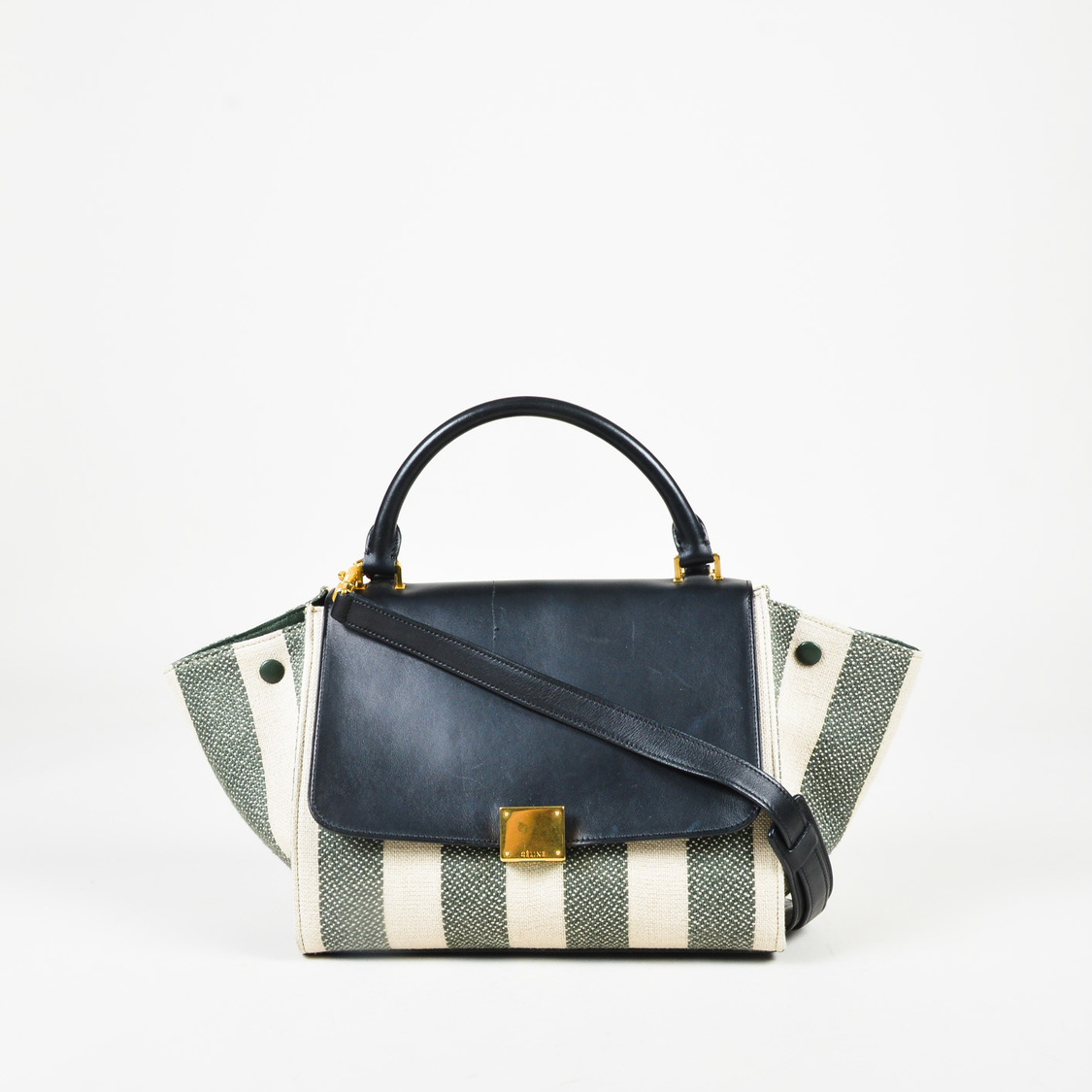 2adec38dee88 Details about Celine S S 2015 Cream Green   Blue Canvas   Leather Striped  Small