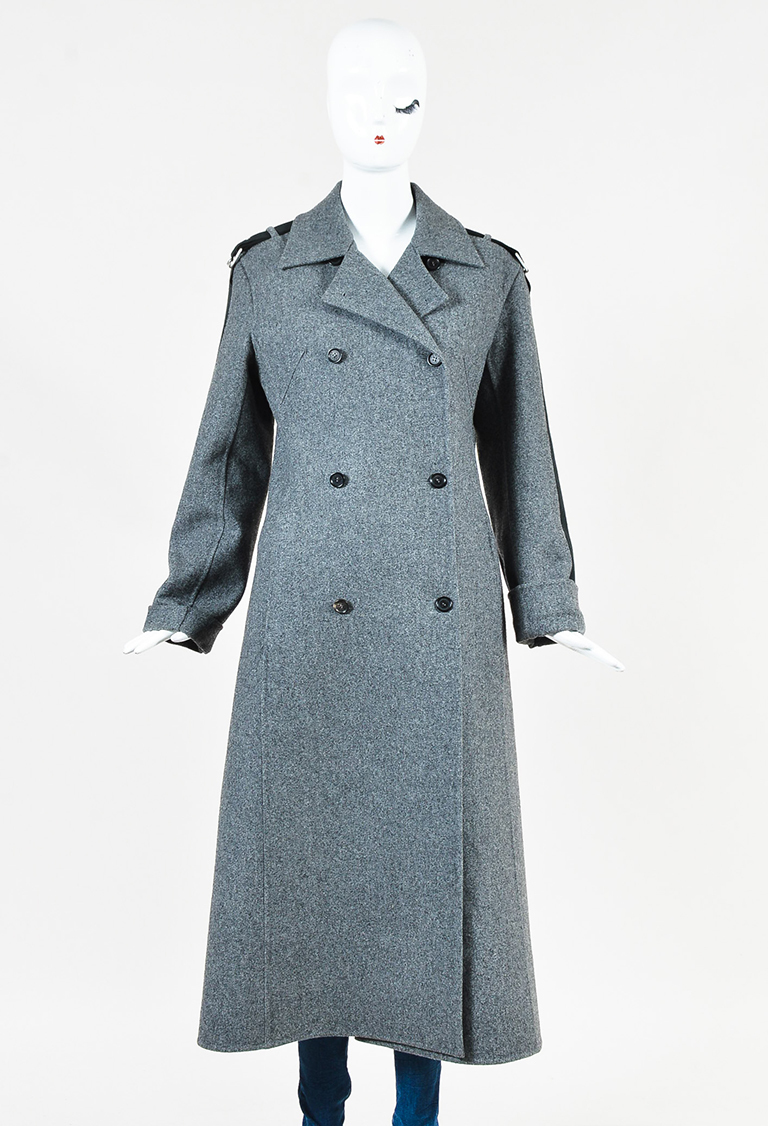 Gray Cashmere & Wool Double Breasted Long Coat