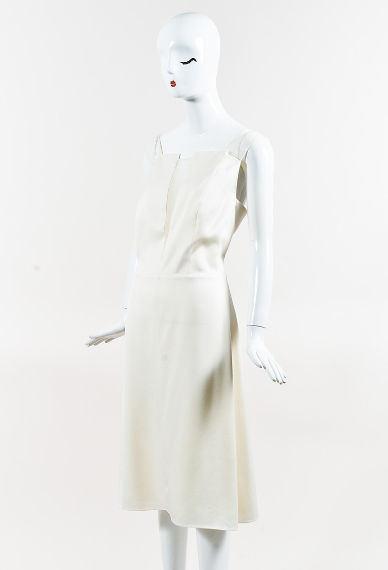 Cream Crepe Sheer Trim Sleeveless A Line Dress