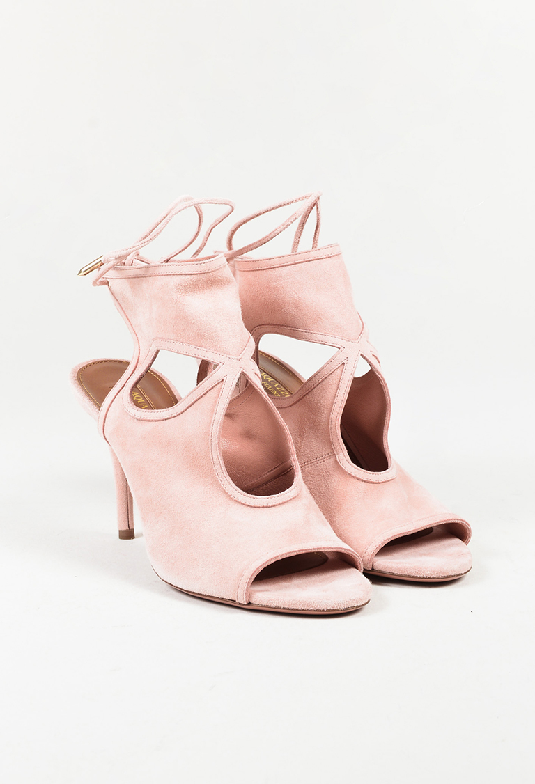 """""""Peony"""" Pink Suede """"Sexy Thing"""" 85 mm Cutout Sandals"""