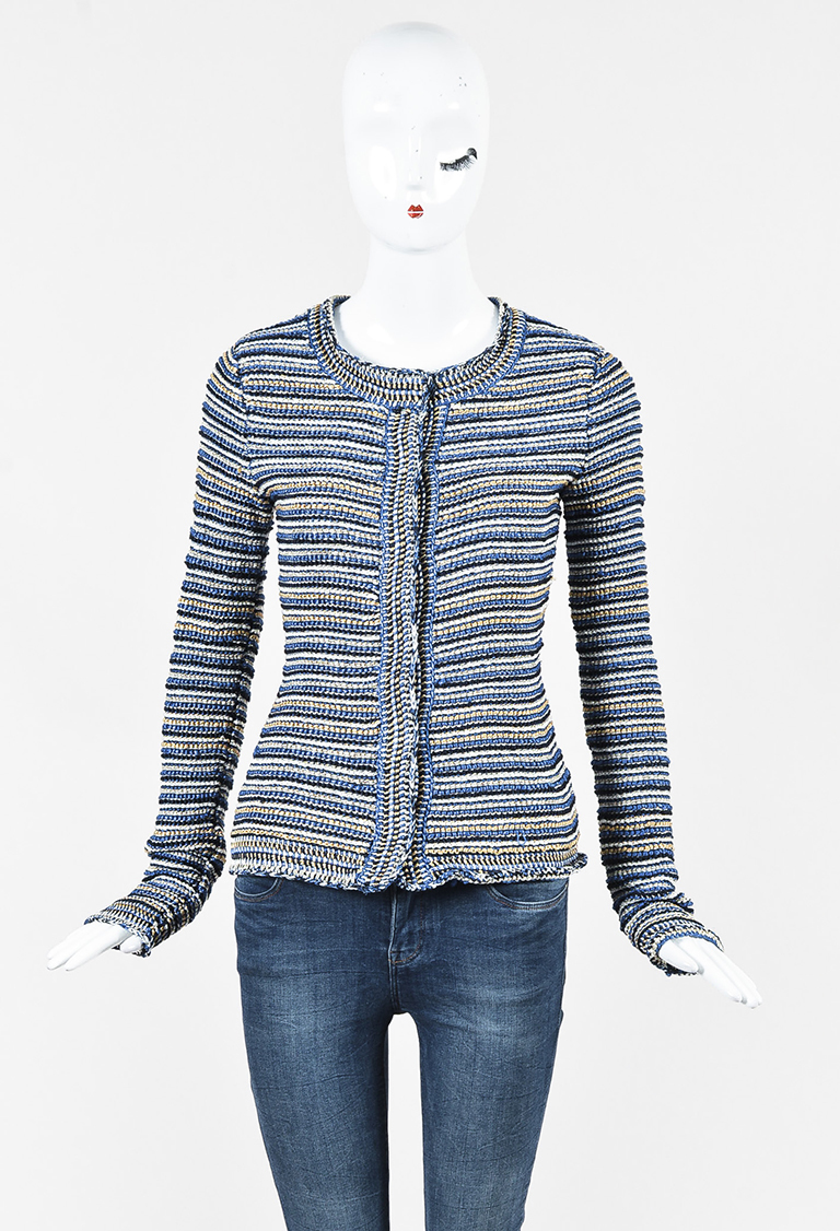 Multicolor Striped Collarless Jacket