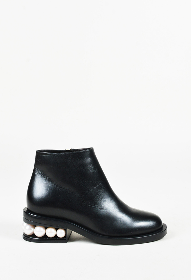 "Black Leather Platform ""Casati Pearl"" Boots"