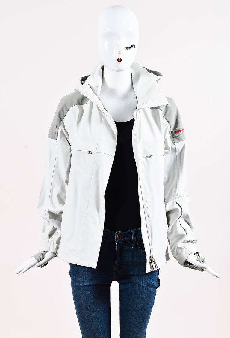 Sport Cream & Gray Nylon Blend Hooded Jacket