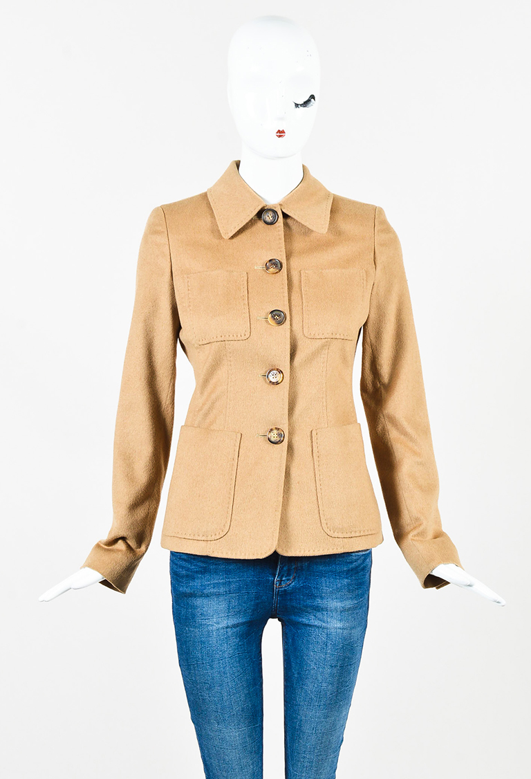 Camel Brown Camel Hair Buttoned Jacket