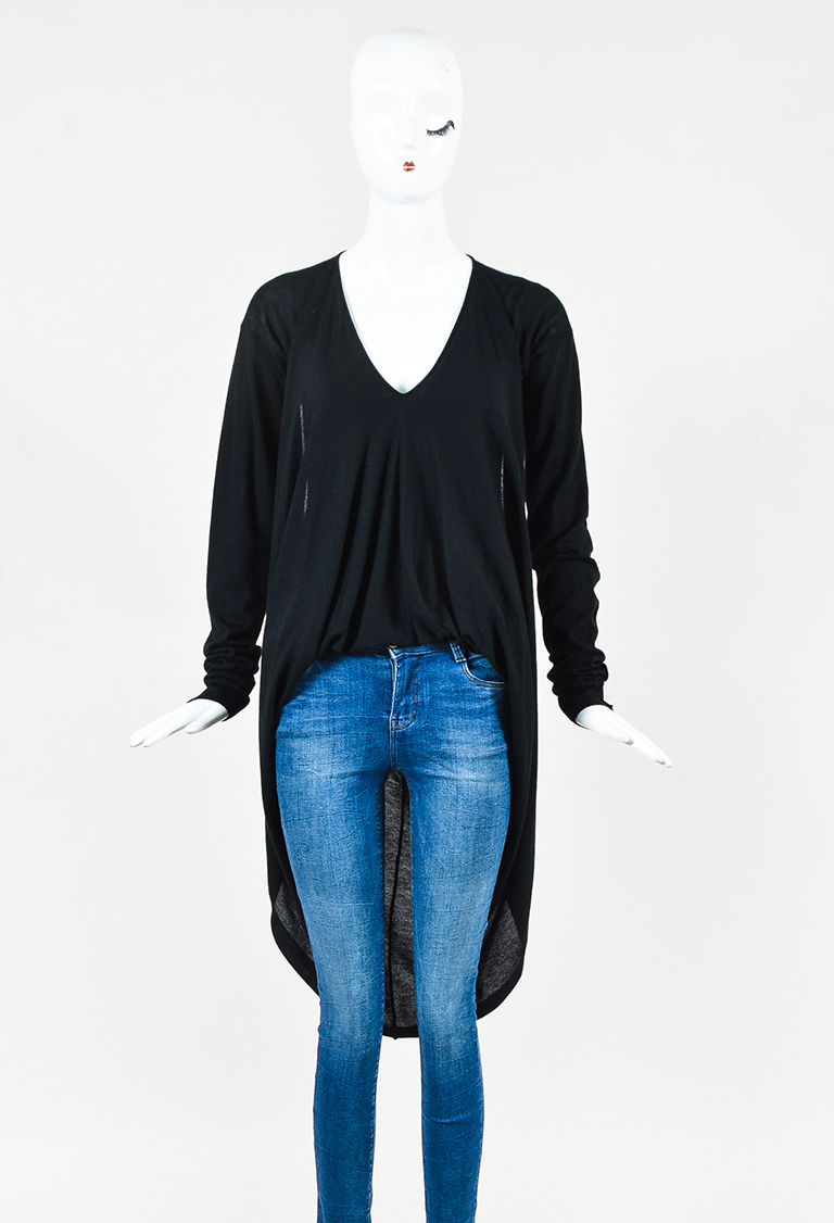 Black Cashmere High Low Long Sleeve Sweater
