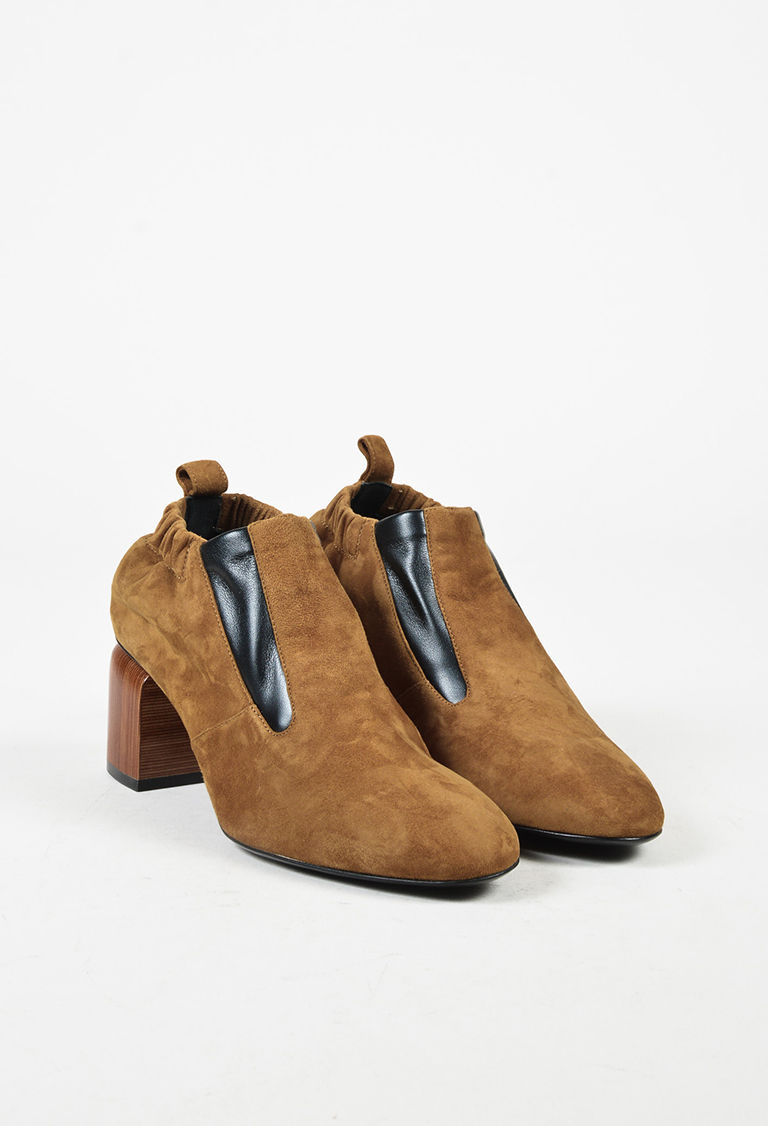 """""""Camel"""" Brown & Black Suede """"Rhythm"""" Ankle Boots"""