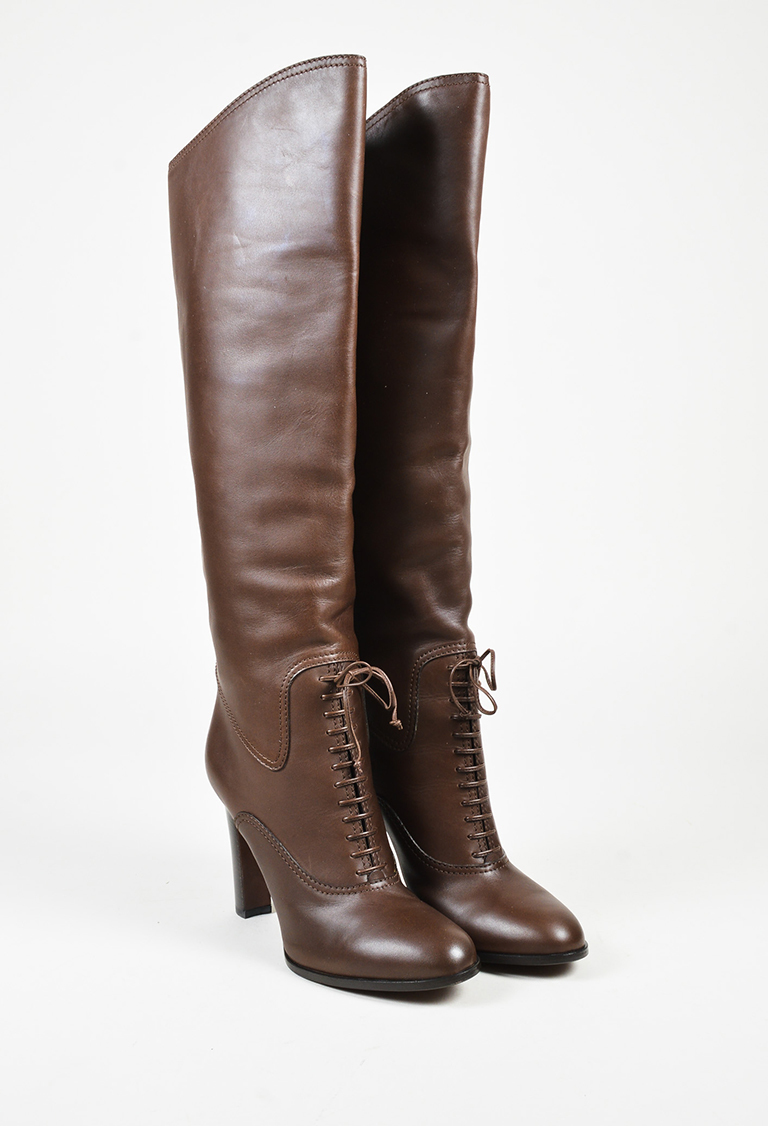 Brown Leather Lace Up Knee High Platform Boots