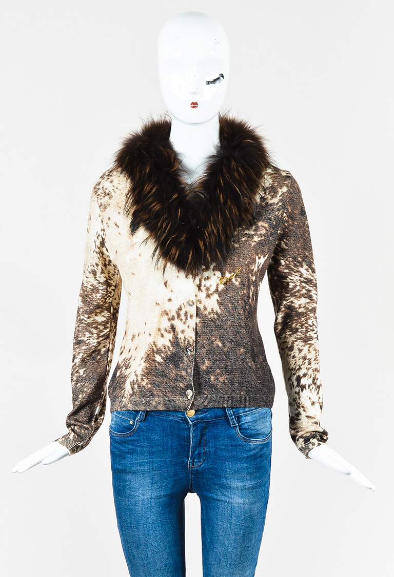 Brown Multicolor Wool Blend & Fox Fur Safety Pin Cardigan