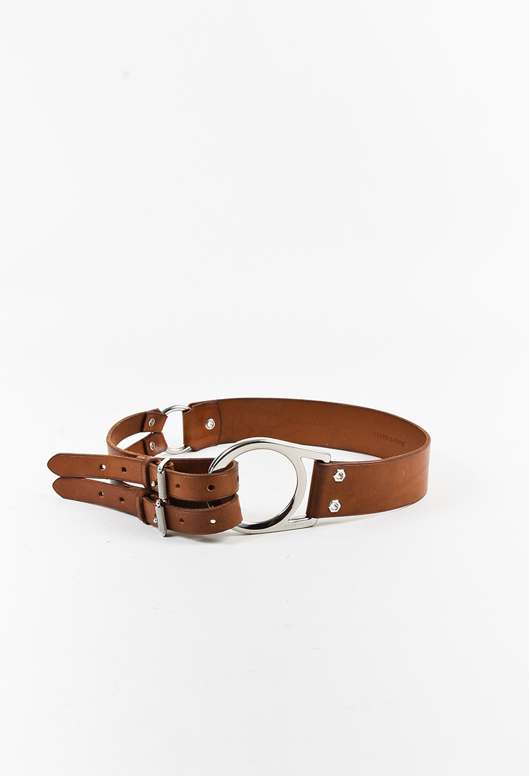 Brown Leather Asymmetric Hip Belt
