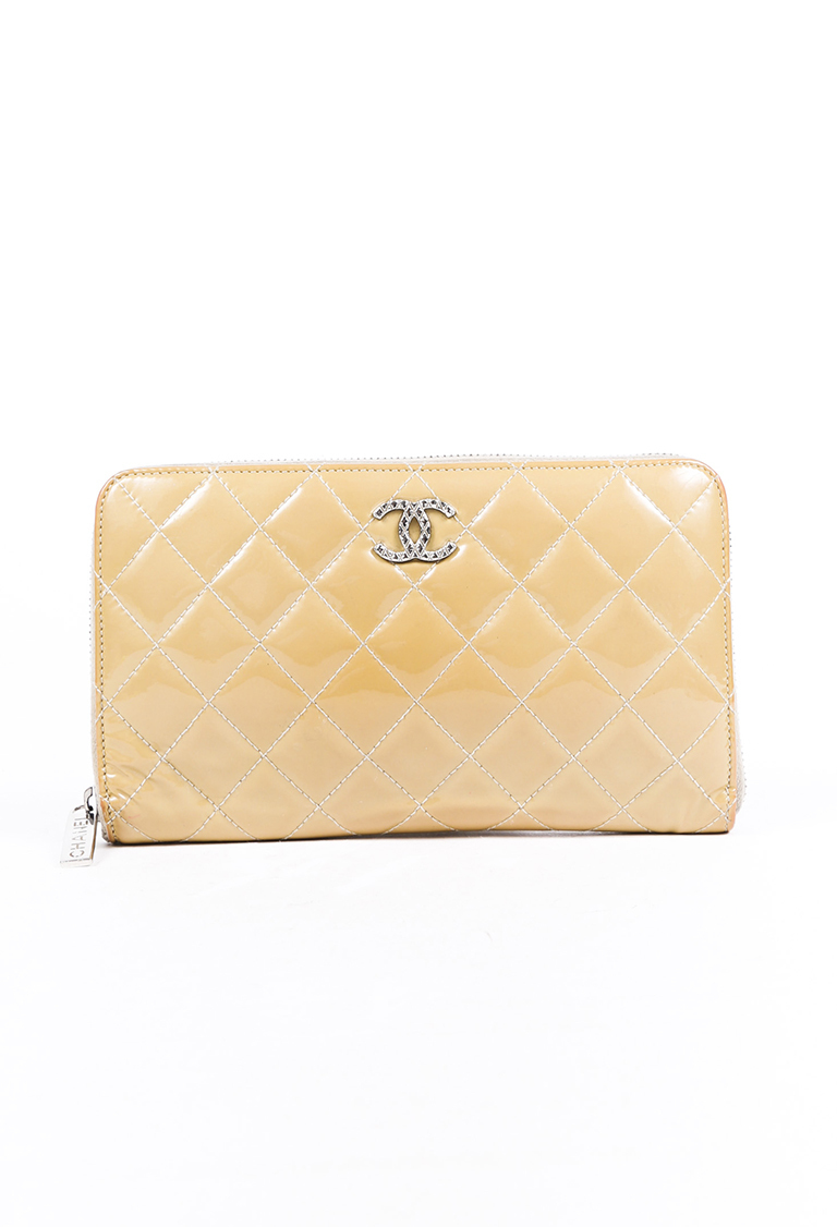 """Beige Quilted Patent Leather """"Passport"""" Wallet"""