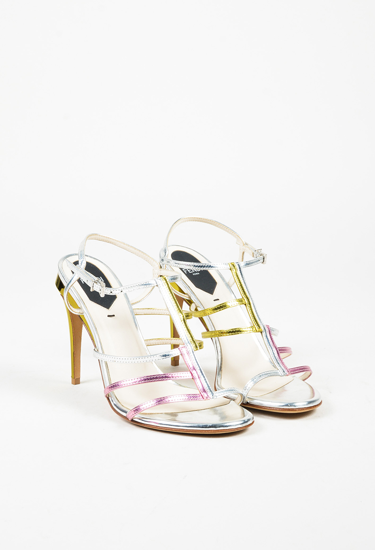 Multicolor Mirrored Leather Open Toe Strappy High Heel Sandals