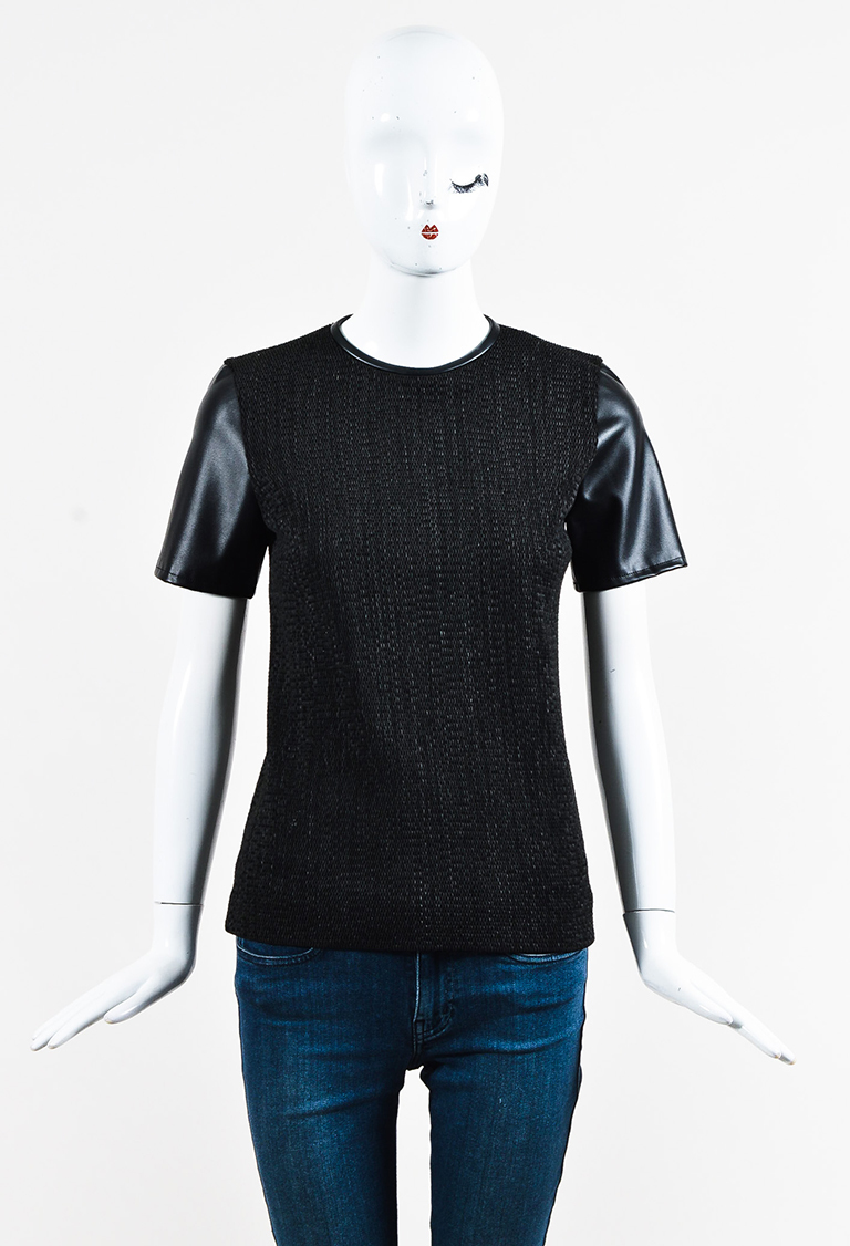 Black Knit Faux Leather Short Sleeve Top