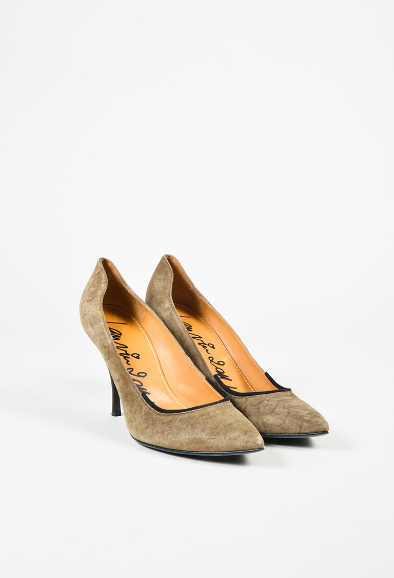 Brown Suede Pointed Toe Pumps