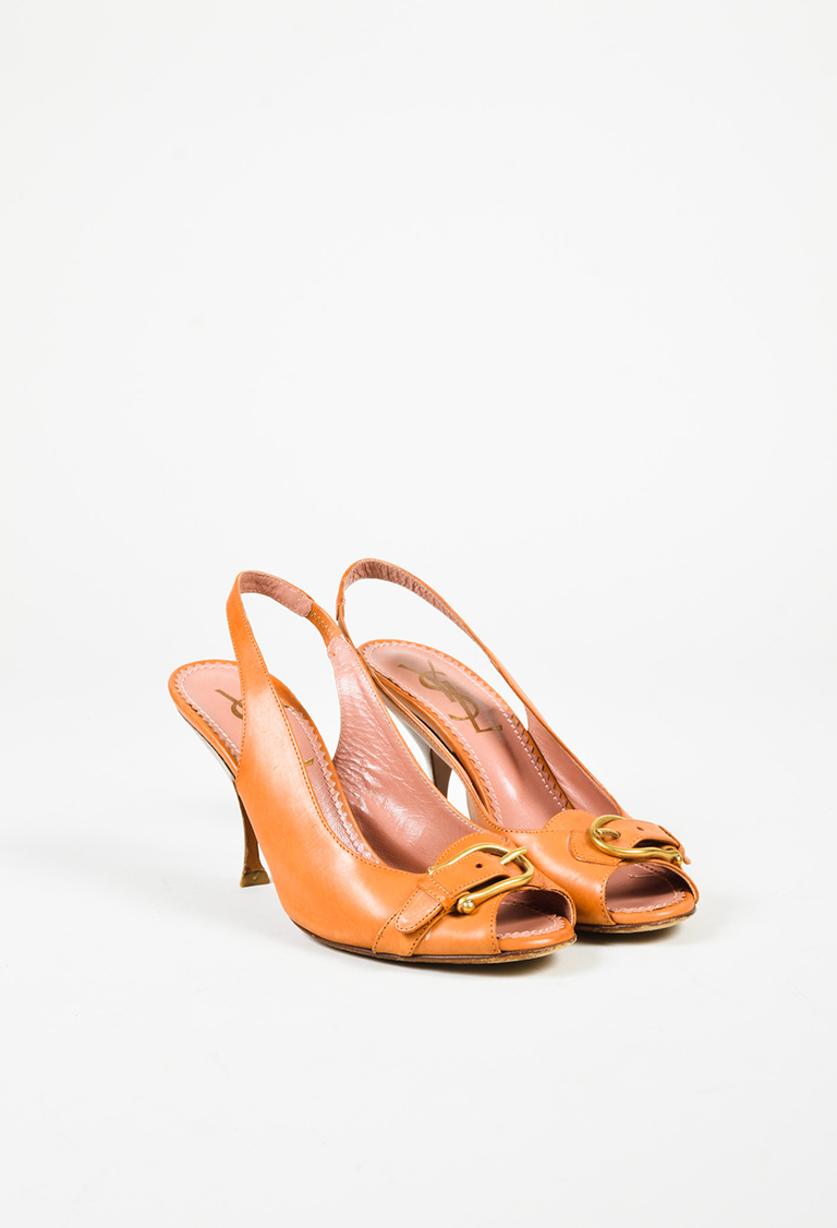 Yves  Brown Leather Peep Toe Slingback Pumps