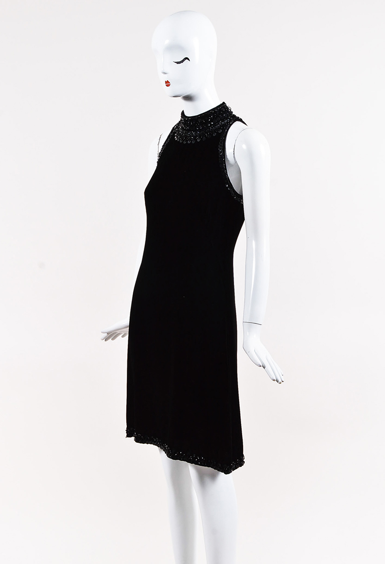 Black Velvet Embellished Halter Shift Dress