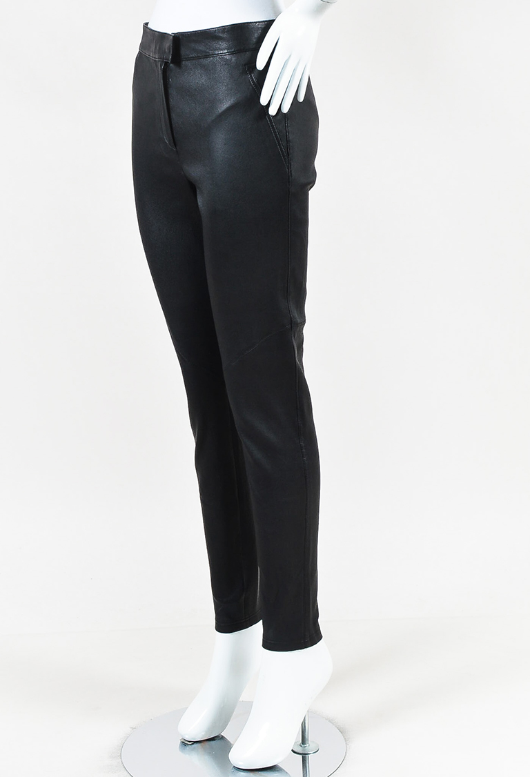 Black Leather Zip Ankle Skinny Pants